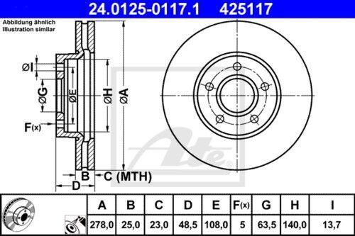 BELÄGE VORNE Ø278 für FORD FOCUS C-MAX FOCUS II 3874201 ATE BREMSSCHEIBEN