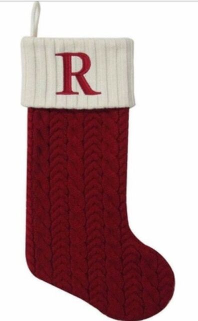 Cable Knit Christmas Stockings.St Nicholas Square Initialed Red Cable Knit Christmas Stocking W Letter R