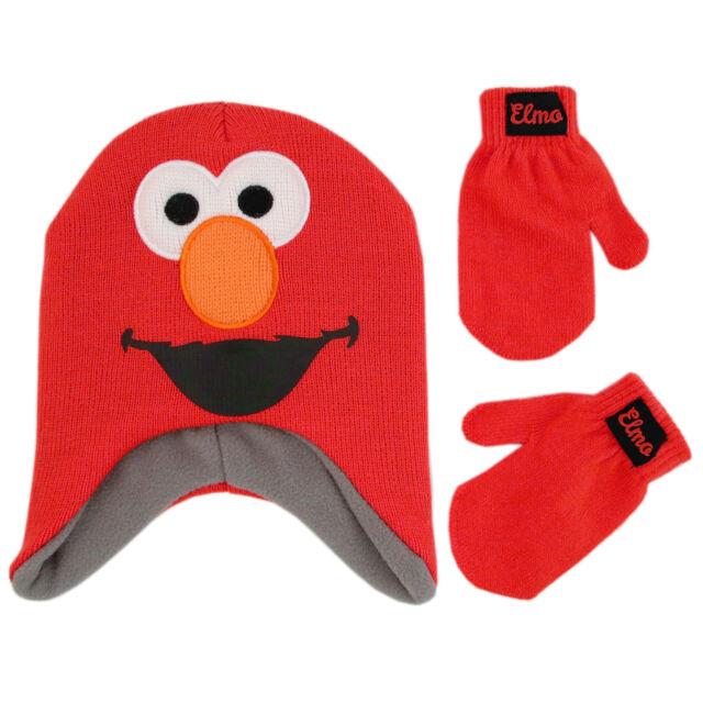 0b18d87cc6f50 Sesame Street Elmo Winter Hat Gloves Beanie Mittens Set Kids Boys ...