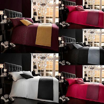 Diamanté Sparkly 5 Piece Bedding Set Complete Duvet Cover Pillow Cas Bed Runner