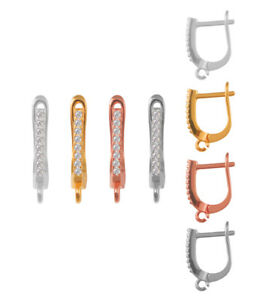 Many Different Platings Sterling Silver 925 Earrings Hooks Leverbacks 16x5mm