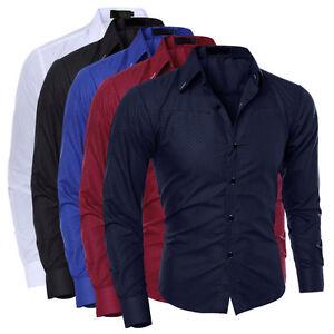 Herren-Hemd-Business-Hochzeit-Freizeit-Polo-Langarm-T-Shirt-Anzug-Oberhemd-I0H1