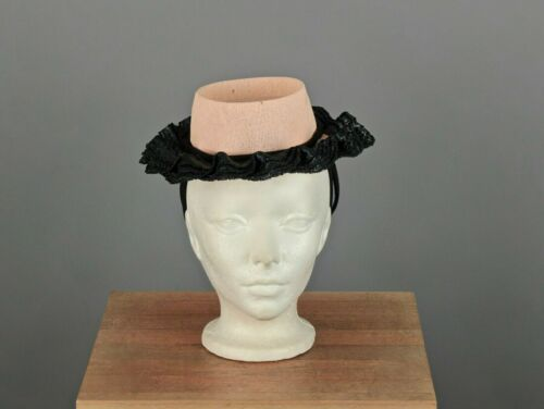 VTG Women's 30s 40s Pink & Navy Blue Straw Hat 193