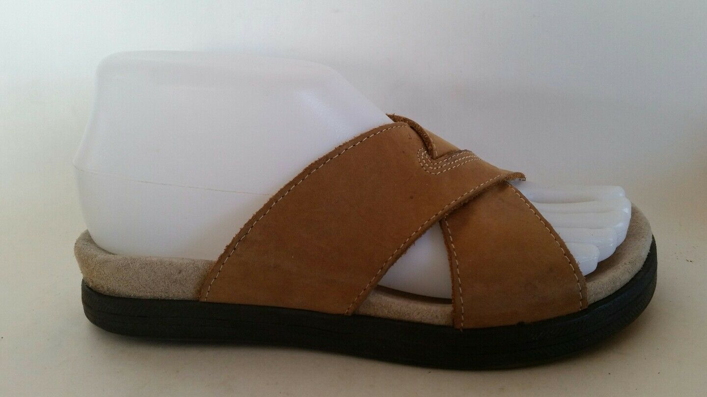 Bass Newport Beach Casual Sandal Brown Leather Slides Casual Beach Shoes Womens 5.5 M Comfort 40c5f5