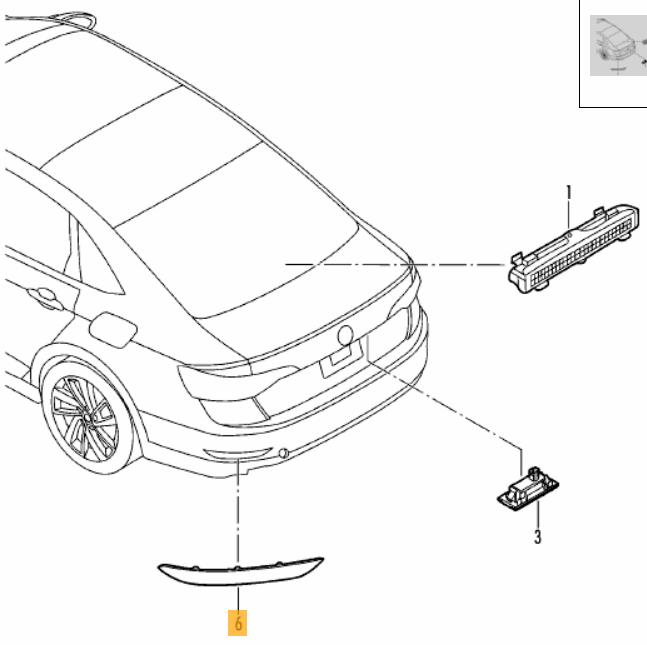 Volkswagen Genuine Oem 2019 Jetta Rear Right Light Reflector