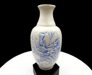 ASIAN-ART-POTTERY-SCENIC-MOUNTAIN-RELIEF-BLUE-AND-WHITE-8-1-8-034-VASE