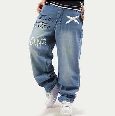 Nouveau Homme Noir Jeans Denim Pantalon Fashion Classique Pantalon Baggy Hip-Hop W30-W46