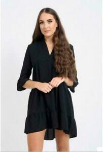 New-Women-039-s-V-Neck-Frill-Layered-Summer-Beach-Fashion-Smock-Swing-Mini-Dress