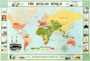 The muslim world map in colour english ebay image is loading the muslim world map in colour english gumiabroncs Image collections
