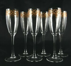 6-gold-banded-Crystal-Champagne-Sparkling-Wine-or-Prosecco-glasses-flutes