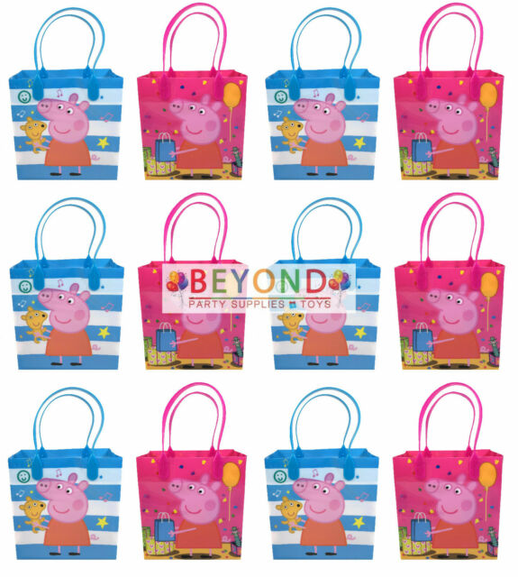 12PC Nick Jr Peppa Pig /& Puppy Goody Bags Birthday Party Fun Favors Gift Bags