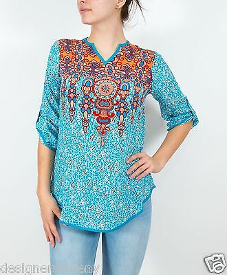 Tolani Silk Molly Tunic Blouse Shirt in Turquoise 2080-T