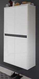 Details zu Badschrank Hängeschrank weiß Hochglanz Lack grau Kommode  Badezimmer Schrank Sol