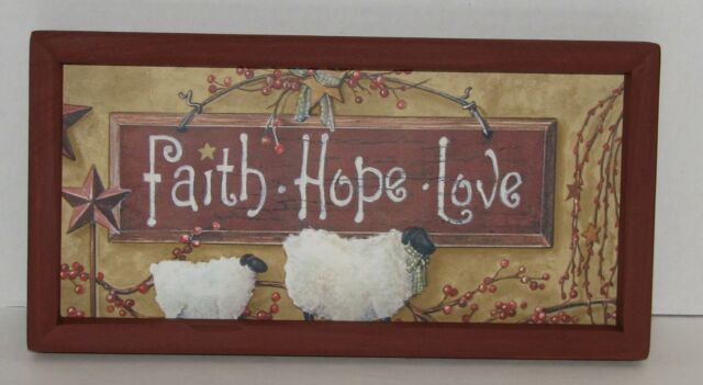 "PRIMITIVE COUNTRY FAITH HOPE LOVE LAMB BERRIES VINE  6""X12"" WALL DECOR"