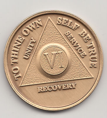 6 Years - VI Years - Alcoholics Anonymous recovery medal token chip coin