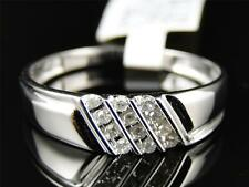 Mens 10k White Gold Genuine Diamond Channel Set Wedding Engagement Band Ring
