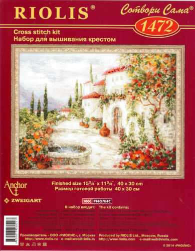 RIOLIS  1472  AT THE FOUNTAIN  COUNTED CROSS STITCH KIT