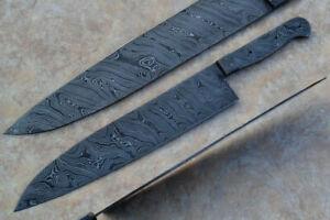 Custom-Handmade-Damascus-Steel-15-0-inches-Chef-Knife-Blank-Blade