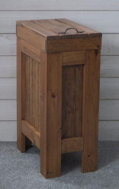 Wood Trash Can Kitchen Garbage Can Rustic Wooden Wood Trash Bin Dog Food Storage