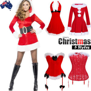 d98651ea9d2 Image is loading Women-Sexy-Christmas-Santa-Corset-Bustier-Lingerie-Fancy-