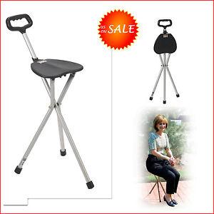 Folding Walking Stick Cane Seat Portable Camp Hiking Chair