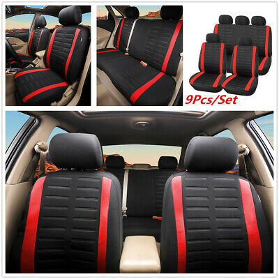 9pcs Universal Car Seat Covers Full Set Front/&Rear Seat Back Head Rest Protector