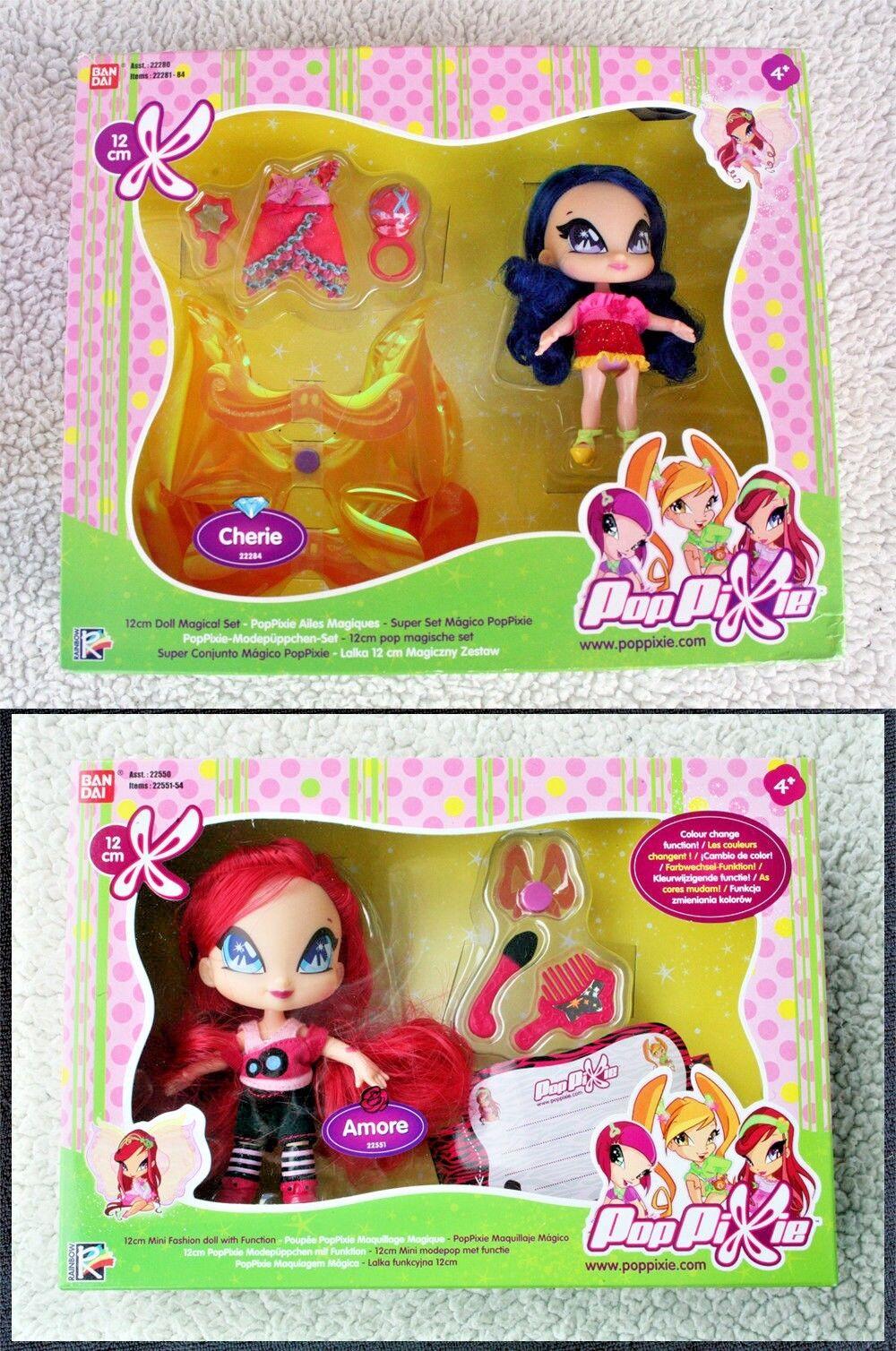 2 POP PIXIE bambole  AMORE & CHERIE (WINX CLUB AMICI) Bandai, in scatole Nuovo di Zecca