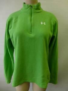 womens UNDER ARMOUR lime green 1/2 zip Fleece Jacket Medium ski