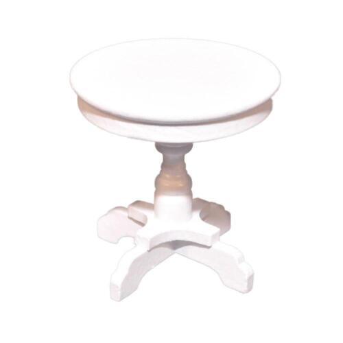 CASA delle Bambole Tavolo rotondo lato bianco shabby chic 1:12 Mobili Soggiorno