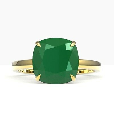 5003. 6 CTW Cushion Cut Emerald Designer Inspired Engagment Rng 18K Gold -... Lot 5003