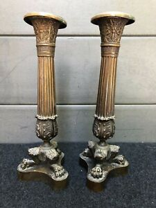 PAIRE-DE-BOUGEOIRS-EMPIRE-RESTAURATION-BRONZE-PIEDS-GRIFFE-TRIPODES-H-23-cm