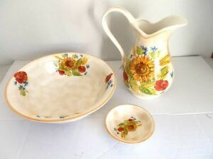 Set TOILETTE catino brocca piattino ceramica MADE IN FLORENCE DECORO GIRASOLI