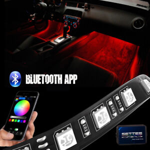 Details About Bluetooth Rgb Led Interior Car Kit Under Dash Footwell 12 Strip Accent Lighting