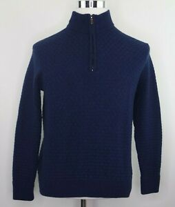 Robert-Graham-Mens-Size-Large-100-Wool-Navy-1-4-Zip-Knit-Pullover-Sweater-EUC
