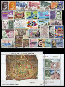 SPANIEN-SELLOS-ANO-1980-NUEVO-MNH-ESPANA-EDIFIL-2558-2598-CON-HOJITAS