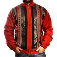 Men's Inserch Red/black Knit Full Zipper Mock Neck Pu Trim Sweater Jacket