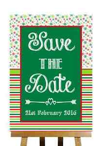 Christmas Save The Date.Details About Red Green Winter Christmas Save The Date Personalised Wedding Sign