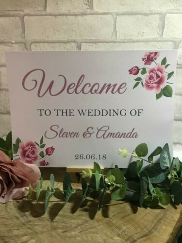 A3 Welcome to the wedding Venue Decoration sign post banner White Flower rose