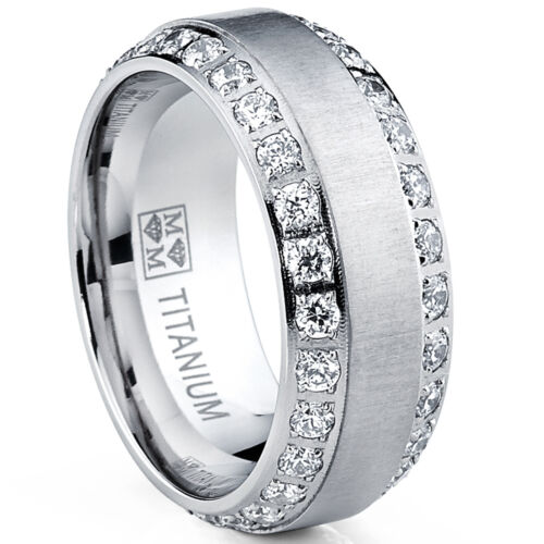 MENS OR WOMENS eternity TITANIUM LCS. DIAMOND WEDDING BAND RING SZ 7 + GIFT
