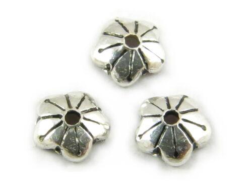 4mm 925er Sterling plata-tapas de perlas 10 unidades.