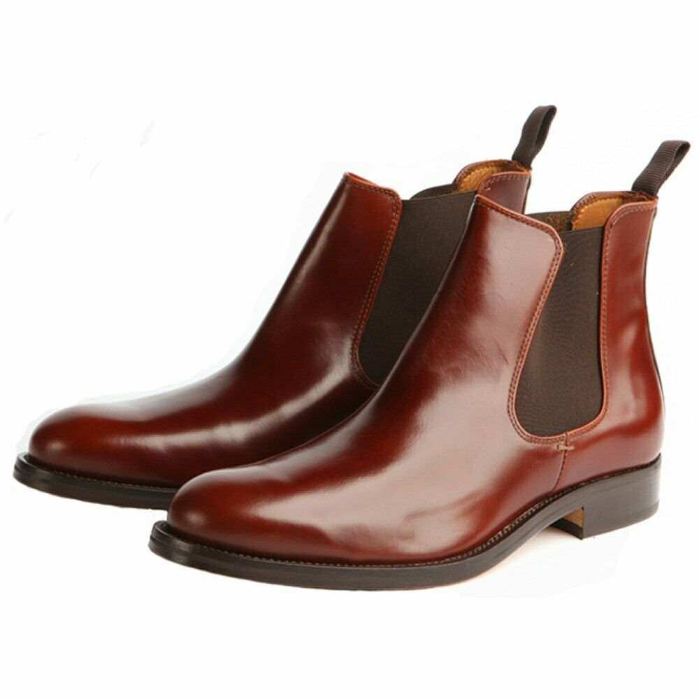 John White Men`s Leather Pull On Casual Plain Ankle Chelsea Boots Polished Tan