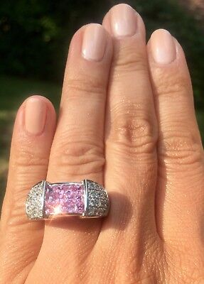 $3000 14K Gold Diamond Mystery-Set Princess Pink Sapphire Ring Certified