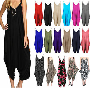 cf0316c6be7 New Women s Ladies V-neck Hareem Summer Beach Harem Jumpsuit Play ...