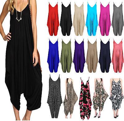 New Women/'s Ladies V-neck Hareem Summer Beach Harem Jumpsuit Play-suit