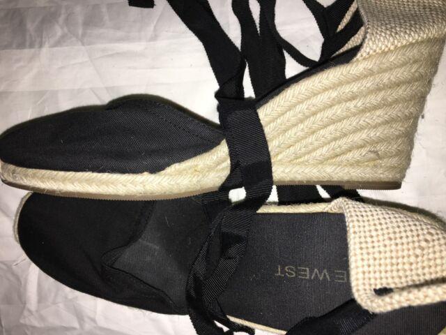 Nine West E-Sideways Tie Wedge Platform Comfort Shoe Women Size 8M