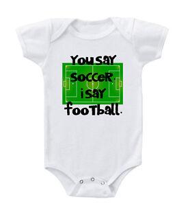 e61d87764 Soccer Field You Say Soccer. I Say Football Toddler Baby Bodysuit ...