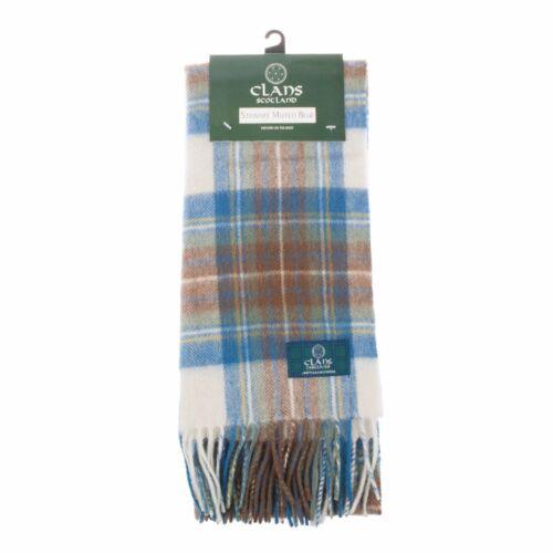 Scottish 100 /% Authentic Wool Tartan Stewart Muted Blue Clan Scarf New !