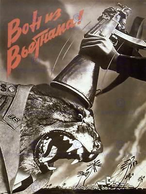 PROPAGANDA VIETNAM WAR SOVIET USSR ANTI AMERICAN GUN POSTER ART PRINT BB2786B