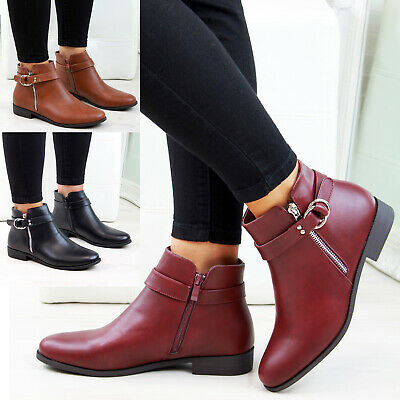 New Womens Ladies Flat Ankle Boots Buckle Strap Zip Casual Low Heel Shoes Sizes