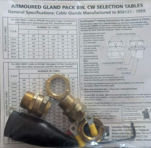 SWA TPBW20S 20S BW Brass Gland Pack with Earthing Nut 2 Per Pack